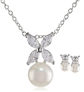 Platinum-Plated Sterling Silver, Freshwater Cultured Pearl, and Cubic Zirconia Earrings and Pendant Necklace Set