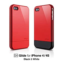 elago S4 Glide Case for AT&T and Verizon iPhone 4 - Extream Hot Red + Extra Bottom Clip + Front Protection Film + Back Protection Film included