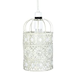 Beautiful Ornate Metal Framed Birdcage Ceiling Pendant Light Shade In A Shabby Chic Floral White Finish With Elegant Acrylic Beads