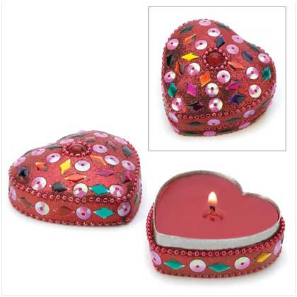 Jeweled Heart Tin Keepsake Candle Cranberry Scented