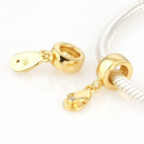 Taotaohas-(1Pc) 22K Gold Plated 100% Solid Sterling 925 Silver Charm Beads Dangle, [ Name: Flip Flop, Stone Color: Clear ], With Crystal Czech Rhinestone, Fit European Bracelets Necklaces Chains, Troll, Biagi Glass Beads