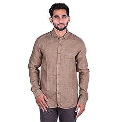 CORTOS Beige Linen Polka Dot Regular fit casual Solid Shirt (Size: Large)