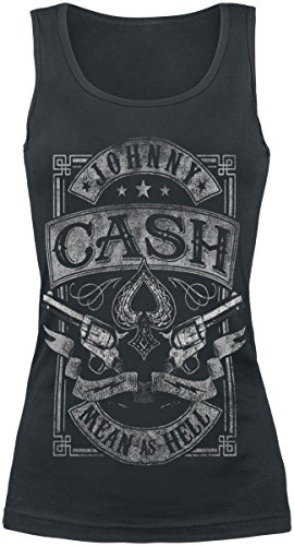 Johnny Cash Mean As Hell Top donna nero XXL