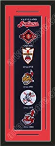 Heritage Banner Of Cleveland Indians With Team Color Double Matting-Framed Awesome... by Art and More, Davenport, IA
