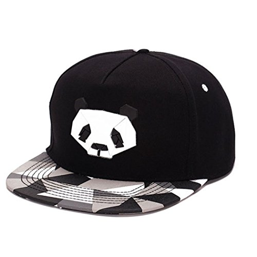 King Star Men Solid Flat Bill Hip Hop Snapback Baseball Cap Panda-Black (Cool Snapbacks compare prices)