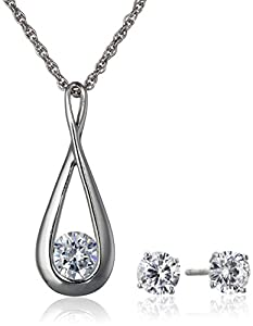Sterling Silver and Cubic Zirconia Infinity Necklace and Earrings Set