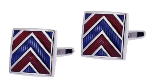 Code Red Base Metal Rhodium Plated Square Cufflinks with Red and Blue Enamel Chevron Design