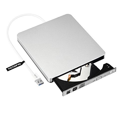 VicTsing Masterizzatore Unità di Scrittura / Lettura CD / DVD-RW Disco Rigido Esterno con Cavo USB3.0, Supporto BOOT USB CD ROM, Compatibile con Windows 2000, XP, Vista, 7, 8 e Tutte le Versioni di Sistemi Mac OS, per Apple Macbook, Macbook Pro, MacBook Air o altro PC / Laptop / Desktop, Argento