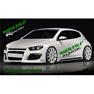 Auto  Racing on Monster Racing Schriftzug    Autoaufkleber Aufkleber Wandtattoo  30