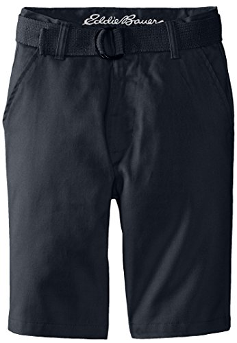 Eddie Bauer Big Boys' Twill Shorts With Back Flap Pockets, Navy, 10 front-233936