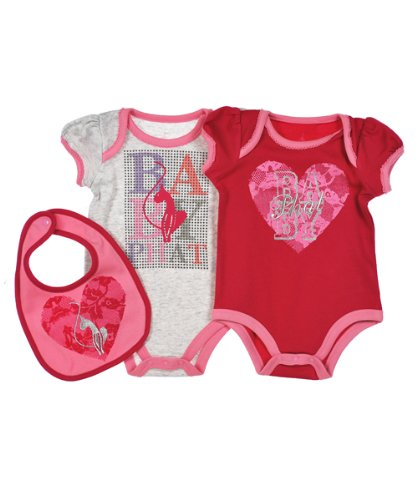 "Baby Phat ""Heart Star"" 3-Piece Set (Sizes 0M - 9M) - heather gray, 3 - 6 months"