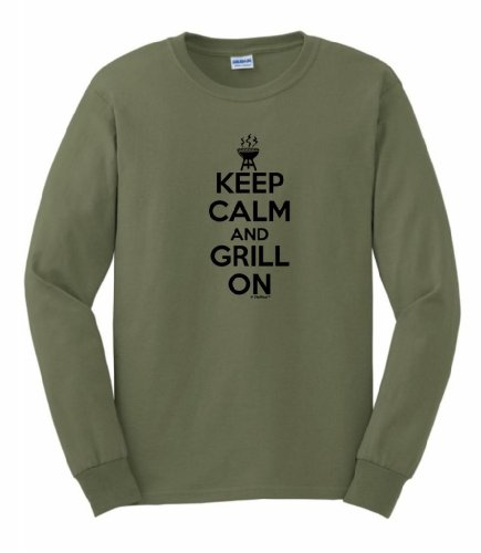 Keep Calm And Grill On Funny Bbqing Long Sleeve T-Shirt Small Military Green
