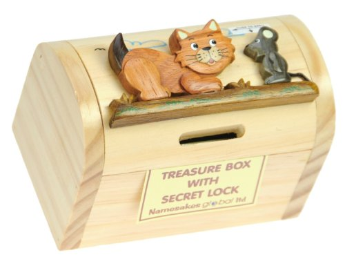 Cat & Mouse Money Box with Secret Lock : Handcrafted Wooden Treasure Chest : Top Christmas Gift Idea : High Quality Traditional Xmas Present For Boys, For Girls, For Him, For Her, For Children & For Fun Loving Adults! 30+ Designs (Size 12x9x7cm)