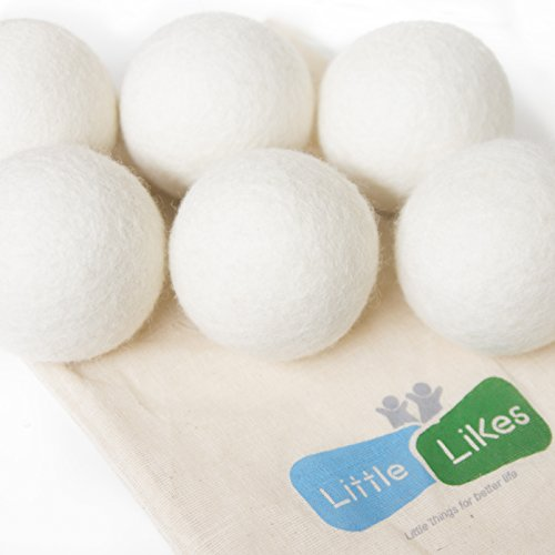 Little-Likes 6-Pack XL Premium 100% Wool Dryer Balls, 100% Organic Wool – Handmade – Eco-friendly – Natural Fabric Softener, Great Gift!!