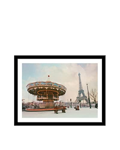 Photos.com by Getty Images Swing Carousel And Eiffel Tower Artwork On Framed Paper