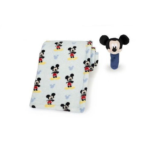 Disney Mickey Mouse Fleece Blanket & Rattle Set front-102937