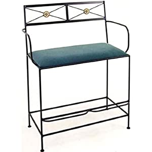 Grace Neoclassic Spectator Bench/Arms, 40in, Whiskey Fabric, Cobblestone Finish