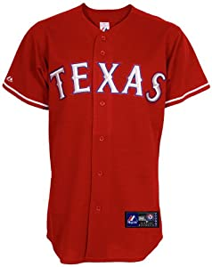 MLB Mens Texas Rangers Nelson Cruz Scarlet Alternate Short Sleeve 6 Button Synthetic... by Majestic
