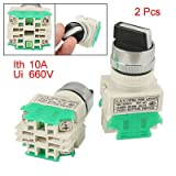 2 Pcs x On/OFF/ON Three 3 Position Rotary Select Selector Switch 10A 660V AC