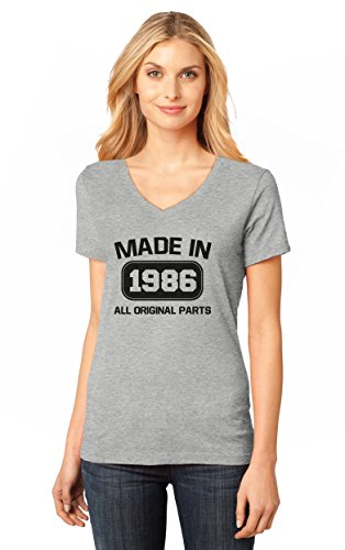 30th Birthday Gift - Made In 1986 All Original Parts V-Neck Women T-Shirt Large Gray