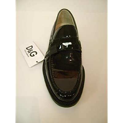 D&G Dolce & Gabbana Shiny Men Shoes Black Leather DU0566