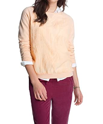 edc by ESPRIT Women's 034CC1J005 Crew Neck Long Sleeve Sweatshirt, Nude Beige, Size 8 (Manufacturer Size:X-Small)