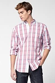 Long Sleeve Poplin Button Down Plaid Woven Shirt