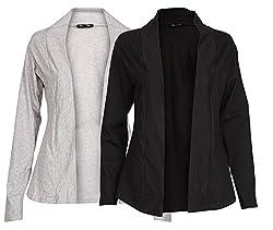 Ten On Ten Women's Cotton-Viscose Long Shrug (NJ-GRYBLK_Free Size_Green/ Black)