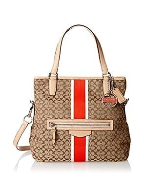 COACH SIGNATURE 6CM FOLDOVER CROSSBODY 27024 KHAKI/ORANGE: Handbags