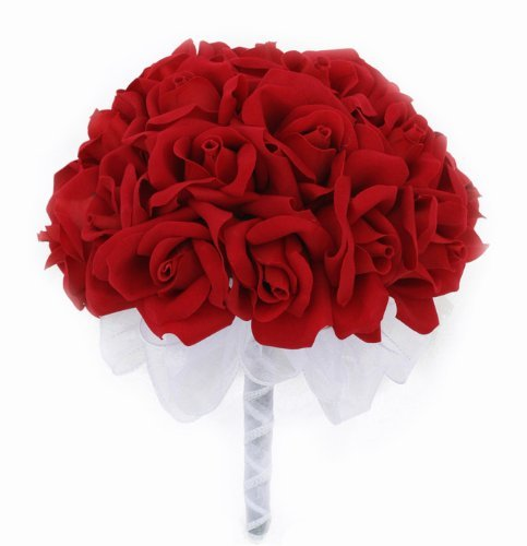 Red Silk Rose Hand Tie (24 Roses) - Silk Bridal Wedding Bouquet