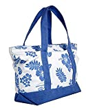 Hibiscus & Palm Tree Canvas Tote Bag / Blue / Large