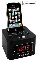 Magnasonic MiC1000K Digital FM Alarm Clock Radio Speaker Dock for iPod/iPhone with Dual Alarm & Auto Time Sync (Black)