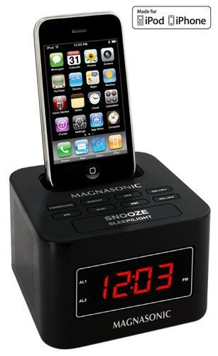 magnasonic mic1000k digital fm alarm clock radio speaker dock for ipod iphone with dual alarm. Black Bedroom Furniture Sets. Home Design Ideas