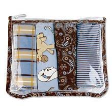Cowboy Zipper Pouch And 4 Burp Cloths Gift Set