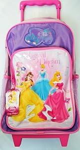 Disney Princess Girls Magical Dream Wheeled Trolley Suitcase Bag Lilac Pink