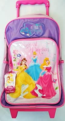 Disney Princess Girls Magical Dream Wheeled Trolley Suitcase Bag Lilac & Pink