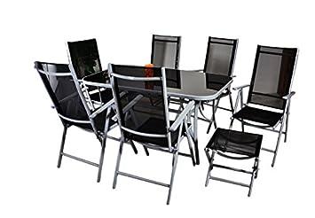 9tlg. Gartengarnitur Sitzgarnitur Sitzgruppe Gartenmöbel Alu Aluminium mit Glastisch 6 klappbare Stuhle Hochlehner 2 Klapphocker schwarz