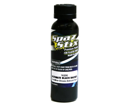 Spaz Stix Ultimate Backer for Mirror Chrome Airbrush Paint, Black, 2-Ounce - 1
