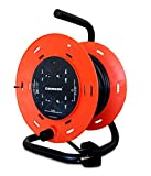SINICON Reel Extension Socket - Universal 4 Way, 36M Cable, 10A, 230V (Orange & Black)