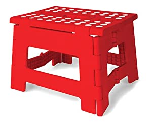 Kikkerland Rhino Easy Fold Step Stool, Short