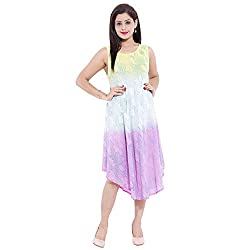 Belomoda Women High Low Flared Dress (TYEDYE_03_YELLOW WHITE PINK_FREESIZE)