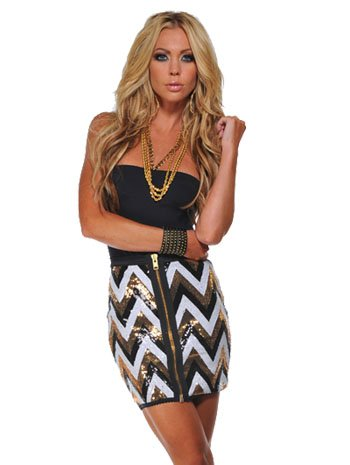 Front Zip Sequin Skirt