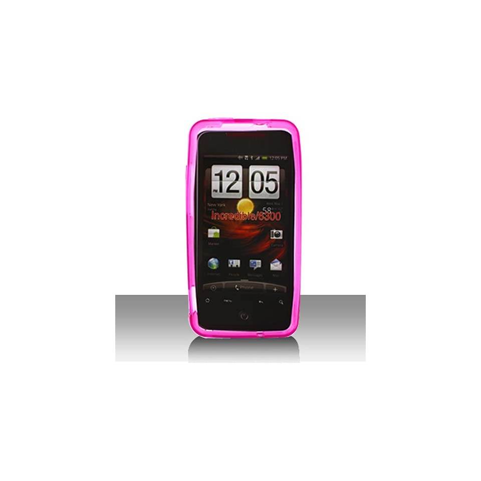 Transparent Clear Hot Pink Flex Cover Case for HTC Droid Incredible ADR6300 Cell Phones & Accessories