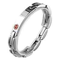 Stainless Steel Link Bracelet with Medical Symbol ID Plate to Engrave (8.5 IN) by Style Jewelry