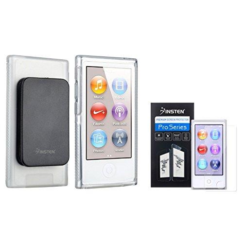 Insten Clear TPU Rubber Case & Belt Clip + Anti-Glare Screen Protector compatible with Apple iPod nano 7th Generation