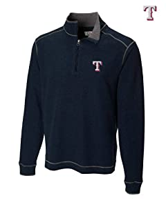 Texas Rangers Mens Overtime Half Zip Overknit Jacket Navy Blue by Cutter & Buck