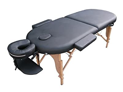 Oval PU Portable Massage Table Bed w/Free Carry Case V5