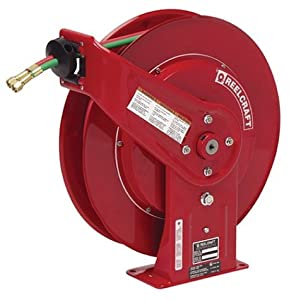 Reelcraft TW7450 OLP Twin 1/4-Inch by 50-Feet Spring Driven Hose Reel for Oxygen/Acetylene Gas Welding from Reelcraft