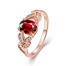 buy [Eternity Love] Women'S Pretty 18K Rose Gold Plated Elegant Imitation Oval Cut Ruby Cz Crystal Wedding Engagement Band Rings Best Promise Rings For Her Tivani Anniversary Collection Jewelry Rings