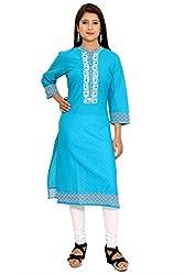 Beautiful Cotton Traditional Womens Kurta (S, Sky Blue)